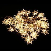 شريط اضاءة داخلي - شريط مصابيح مضاد للماء مكون من 20 لمبة LED وامضة بلون ابيض دافئ بطول 9.8 قدم للكريسماس، والتجمعات العائ...