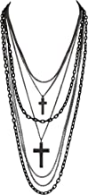 DragonWeave Multilayer Retro 80s Gothic Black and Gunmetal Chain Long Fashion Necklace with Crosses