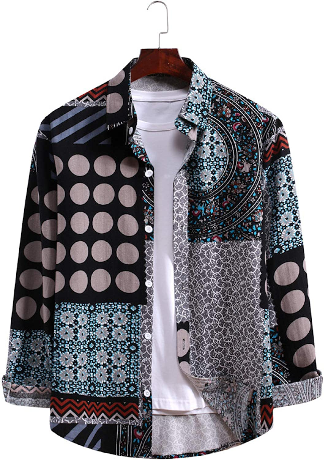 Luandge Store Men's Personality Color Sh security Printed Long-Sleeved Matching