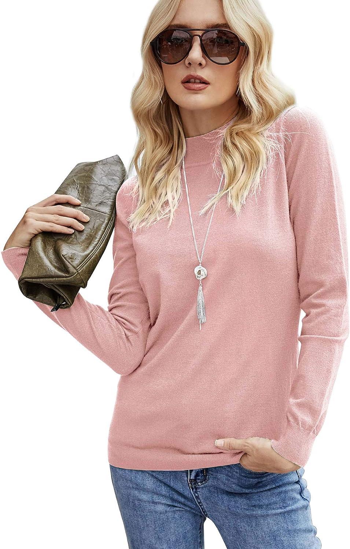 koitmy Women's Long Sleeve Mock Neck Base Lightweight Pullover Sweater