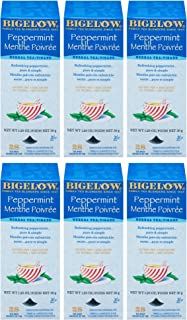 Bigelow Peppermint Herbal Tea 28-Count Boxes (Pack of 6) Caffeine-Free Bagged Herbal Tea in Individually Wrapped Foil Pack...
