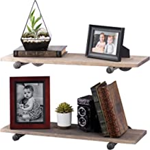 PIPE DÉCOR Industrial Pipe Wooden Shelves, Distressed Aged Wood Paired with Rustic Industrial Iron Pipe Bracket, Wall Mounted Floating Shelf, Barn and Reclaimed Wood Inspired, 24 Inch Gray 2 Pack