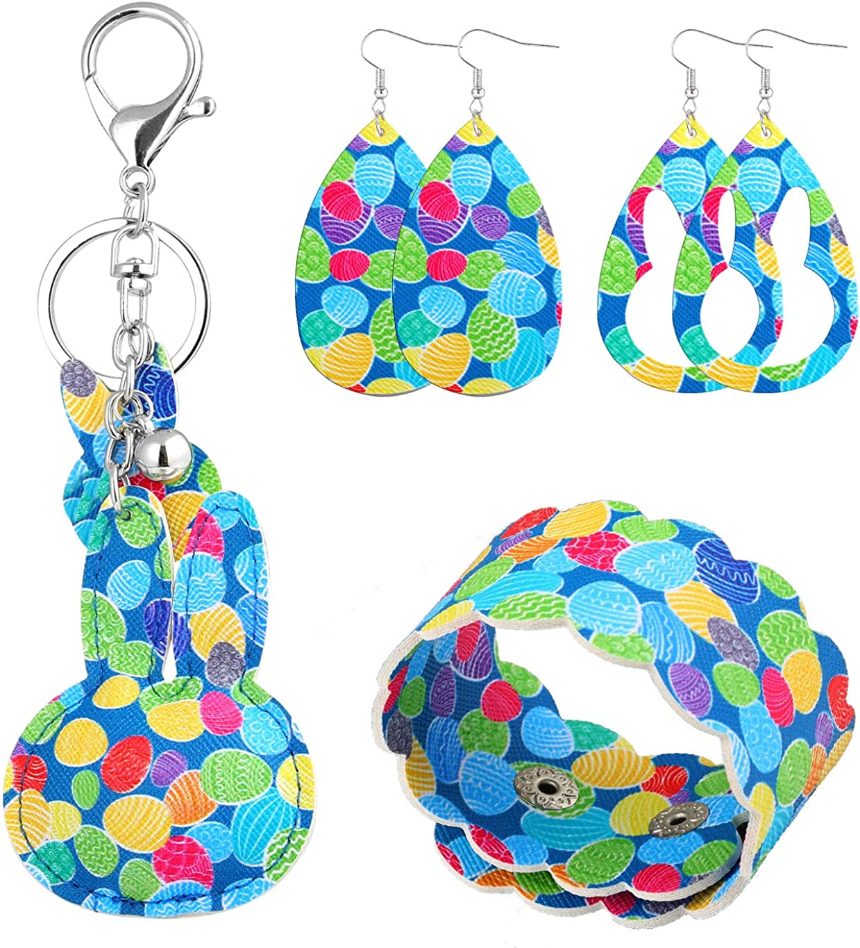 Easter Faux Leather Earrings for Women Lightweight Leather Bangle Bracelet Rabbit Bunny Print Pendant Keychain Easter Party Holiday Jewelry set
