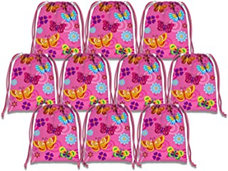 Whimsical Pink Butterfly Drawstring Bags Kids Birthday Party Supplies Favor Bags 10 Pack