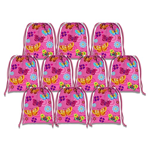 Whimsical Pink Butterfly Drawstring Bags Kids Birthday Party Supplies Favor 10 Pack