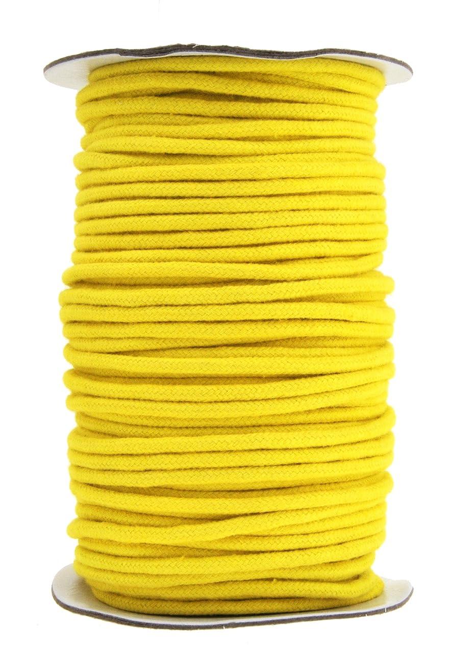 Mandala Crafts Soft Drawstring Replacement Rope Upholstery Crochet Macramé Cotton Welt Trim Piping Cord (Yellow, 3mm)