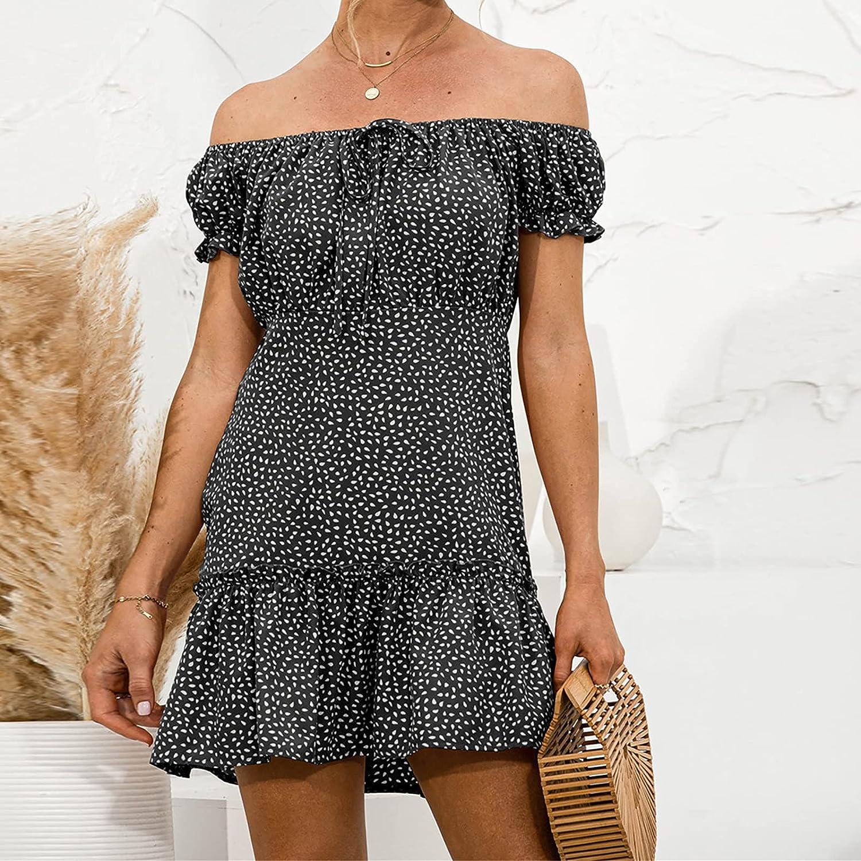 Sun Dresses Women Summer Women's Off Shoulder Puff Sleeve Print Sexy Casual Ruffles Dress Womens Dresses