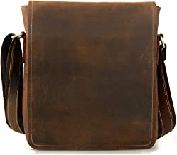 Jack&Chris Men's Handmade Leather Messenger Bag Shoulder Bag, NM1865