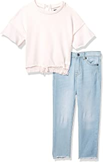 7 For All Mankind Girls' Toddler French Terry Fashion Top and Denim Jean Set