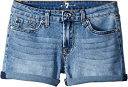 Roll Cuff Stretch Denim Shorts in Vintage Flora (Big Kids)