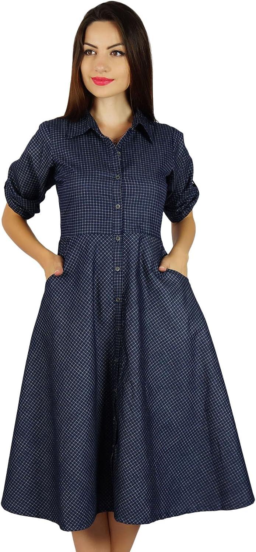 Bimba Womens Buttondown Chambray Shirt Dress with Pockets Casual Collar Neck Shift Dresses