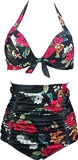 Retro 50s Black Pink Blue Floral Halter High Waist Bikini Set Halter Carnival Swimsuit(FBA)