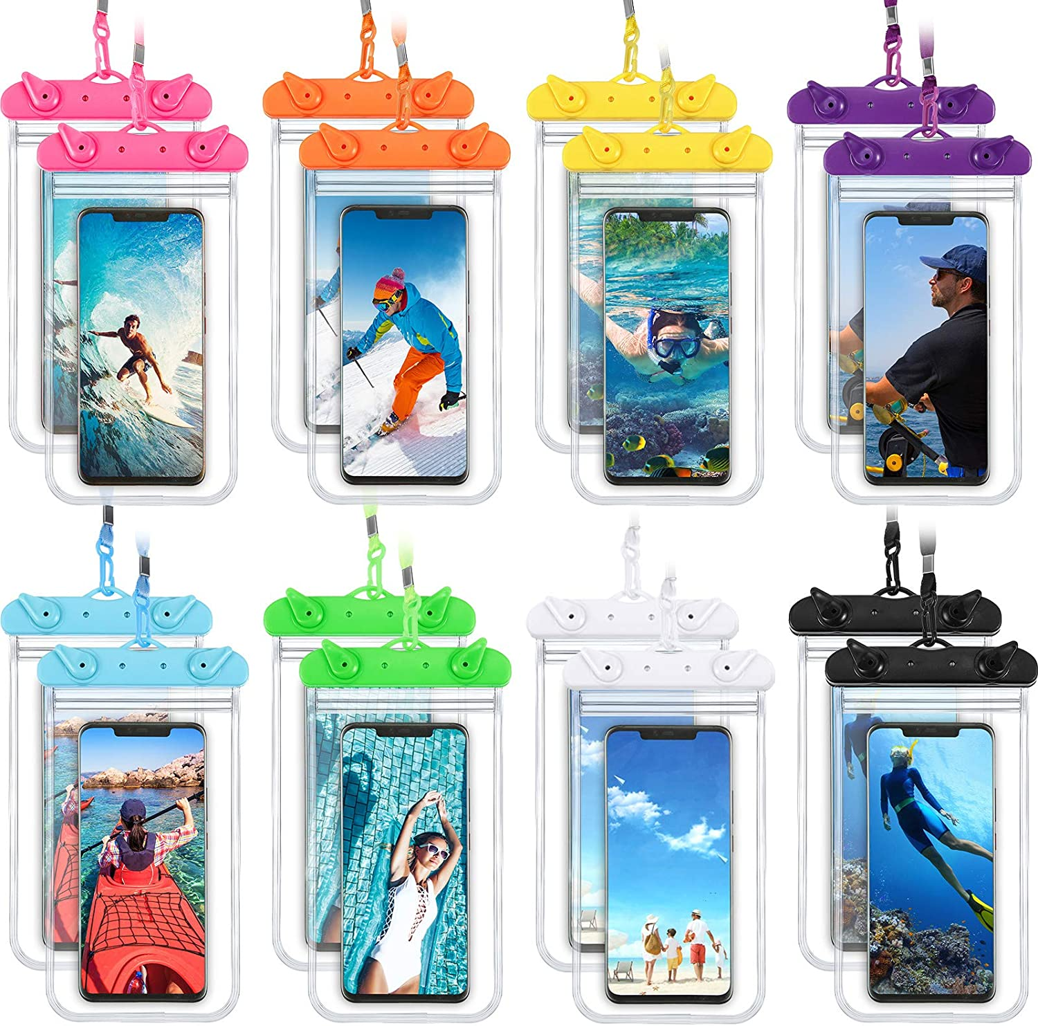 16 Pieces Universal Waterproof Phone Pouch Underwater Clear Phone Case Cellphone Dry Bag Pouch with Lanyard Outdoor Beach Swimming Snorkeling for Smartphone up to 6.9 Inch