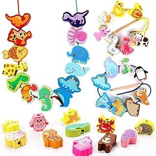 Tacobear 40pièces Billes de Laçage Perles en Bois Perles Animaux Bois Jouets Montessori Jouet Motricité Fine Jouets Éducat...