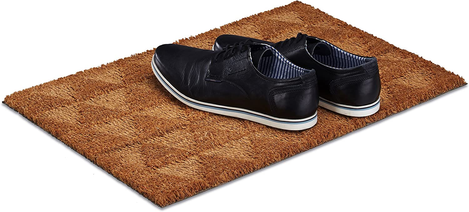 Relaxdays Triangle Coir Doormat, HxWxD  1.5 x 60 x 40 cm, Geometric, Non-Slip, Rectangular, Coconut Fibres, Rubber, Natural Brown