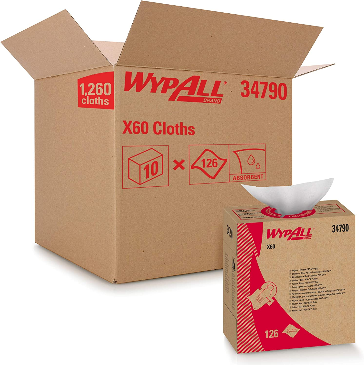 Wypall 34790CT X60 Cloths Max 89% OFF POP-UP Box White 9 8 1 7 16 12 x overseas