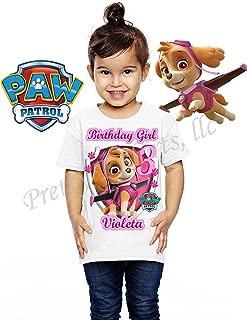 Girl Paw Patrol Birthday Shirt, with Any Name and Any Age, Custom Skye Birthday Shirt, Family Birthday Shirt, Skye, Everest, Chase, Marshall, Paw Patrol Birthday Shirts