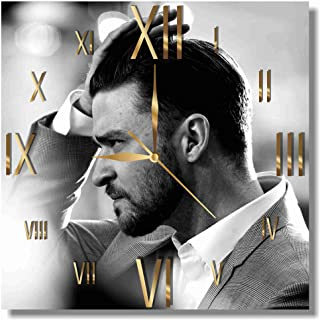 Justin Timberlake 11.8'' Handmade Wall Clock - Get Unique décor for Home or Office – Best Gift Ideas for Kids, Friends, Parents and Your Soul Mates
