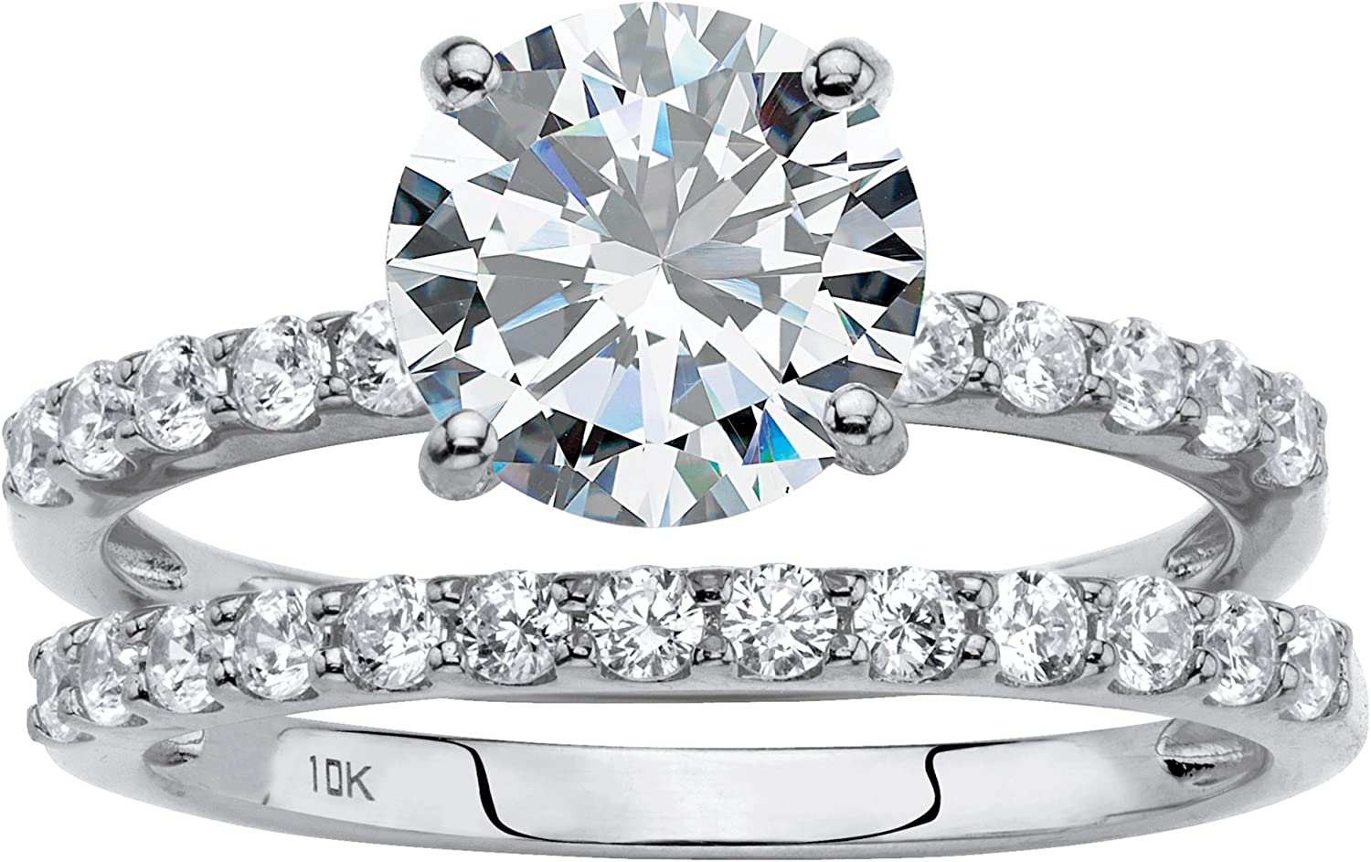 10K Solid White Gold Round Cubic Zirconia 2 Piece Bridal Ring Set Size 8