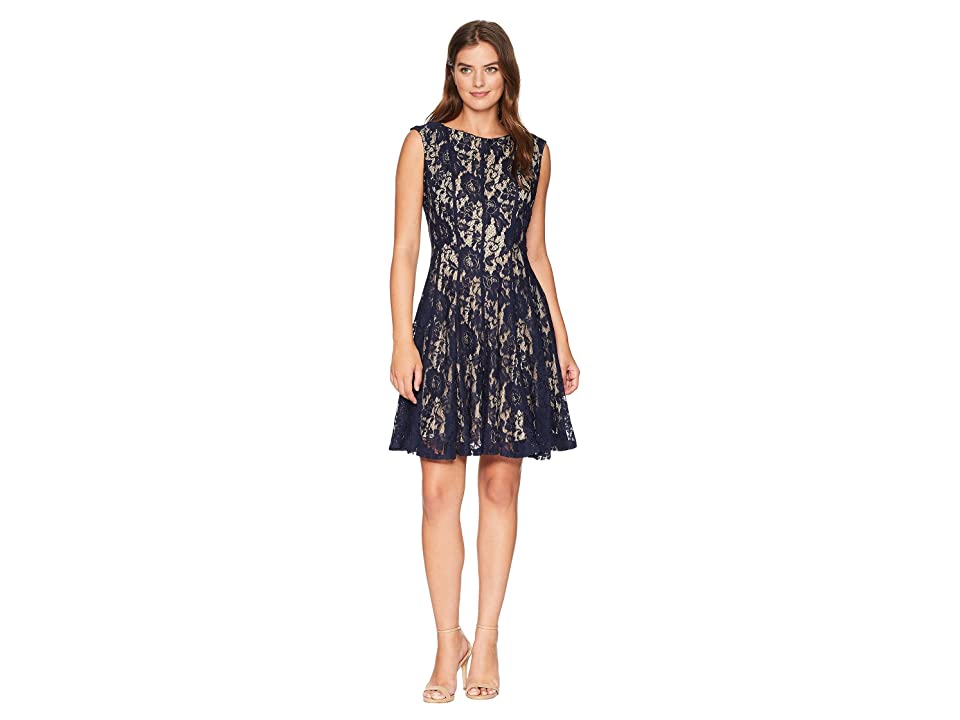 Gabby Skye Lace Seam Down Fit and Flare Dress (Navy/Nude) Women