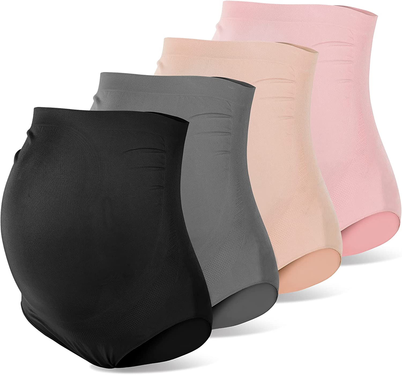 Rnxrbb Womens 4 Pack Maternity Underwear Seamless Over Bump High Waist Pregnancy Panties Plus Size