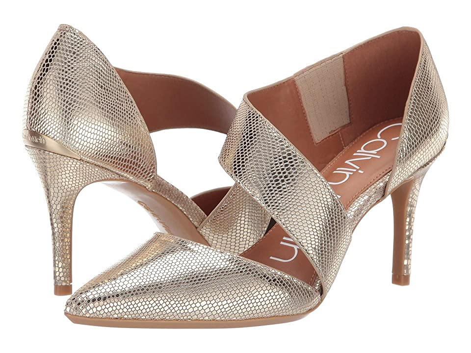 Calvin Klein Gella (Soft Gold/Natural Shiny Lizard) High Heels