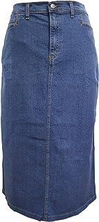 "Ice Cool Ladies Light Blue Stonewash Stretch Denim Maxi Skirt Sizes 12 to 26, Length 35"""