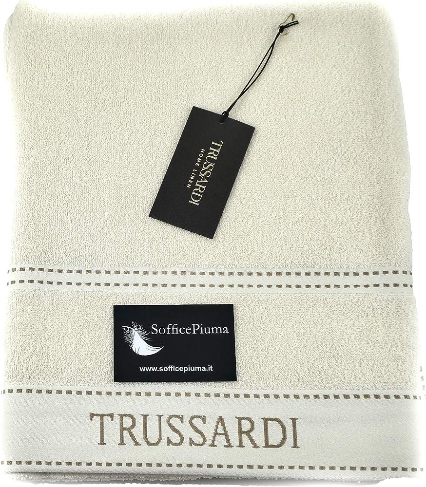 Trussardi home linen,set due asciugamani,100% cotone, telospugna GJ3004-AVORIO