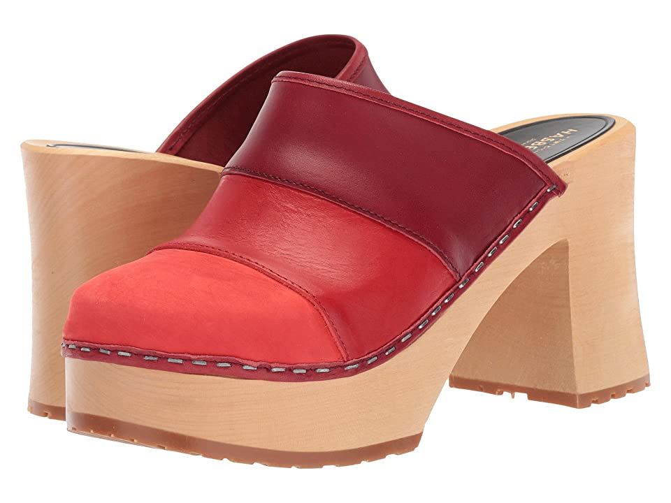 Swedish Hasbeens Color Combo Slip-In (Red Nubuck) Women