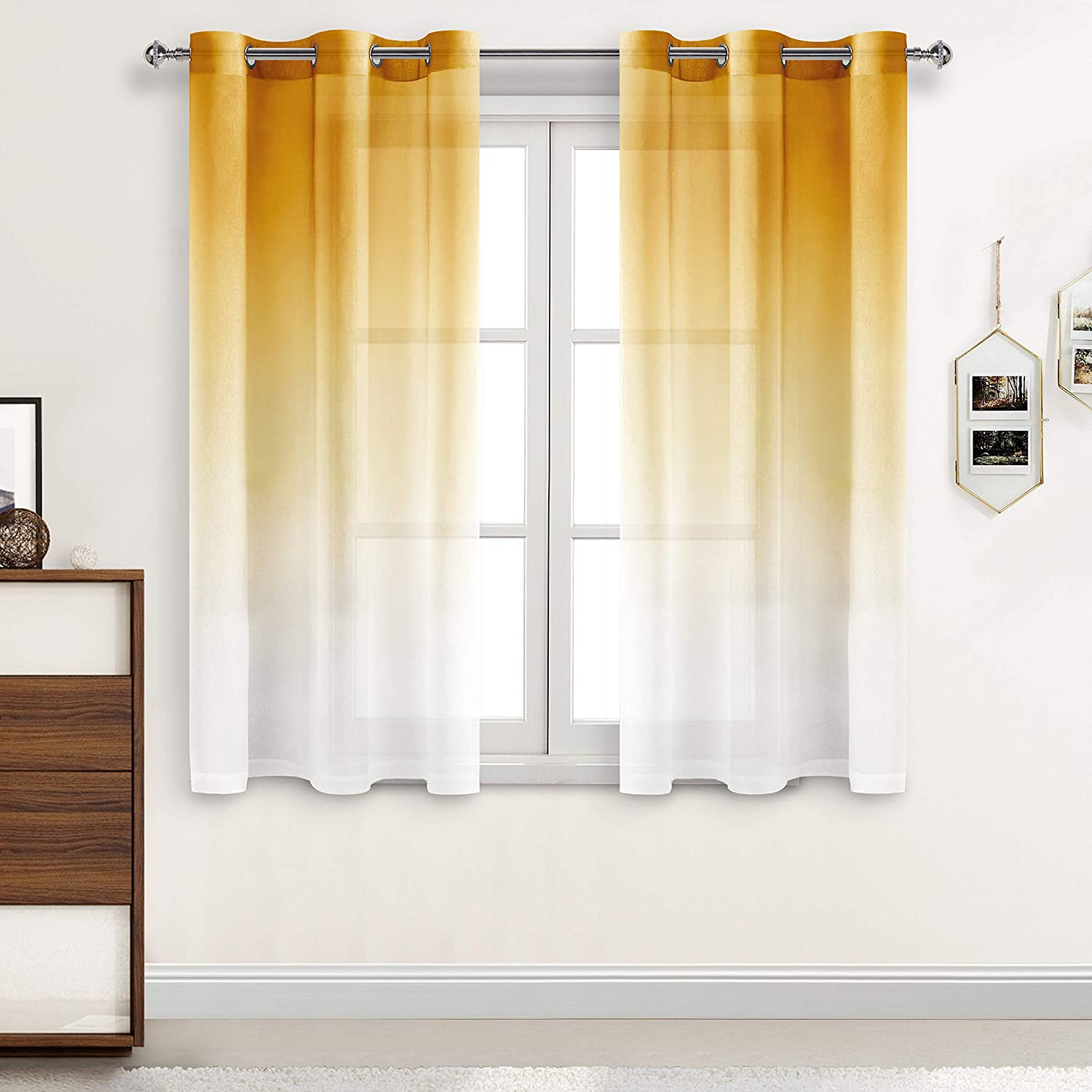 DWCN Faux Outlet ☆ Free Shipping Linen Ombre latest Sheer Curtains - Gradient Semi Voile Gromm