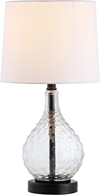 Safavieh Lighting Collection Targari Black/Clear Crystal 19-inch Bedroom Living Room Home Office Desk Nightstand Table Lamp (LED Bulb Included)