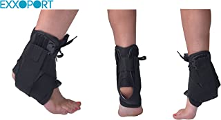 EXXOPORT Ankle Stabilizer Brace I Adjustable Straps and Lace I for Sports, Sprain Ankle, Joints Pain, and Injury Recovery (Large (13-14))