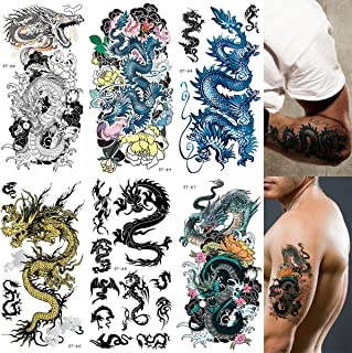 Supperb Mix Dragons Temporary Tattoo / 6-pack (Traditional Set)