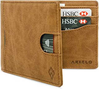 AKIELO RFID Blocking Bifold Card Wallet with Pull Tab and Gift Box – Stylish Mens Wallet – Credit Card Holder Wallets for ...