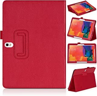 Topratesell Samsung Galaxy Tab Pro 10.1 Sm-t520 T525 / Samsung Galaxy Note 10.1 (2014 Edition) Multi-angle Stand Slim-book Pu Leather Case Cover with Stylus Slot Holder & Sd Card Holder Support Auto Sleep/wake Red