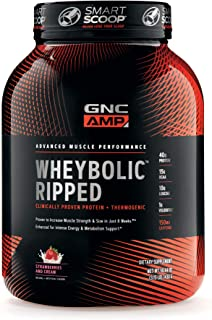 GNC AMP Wheybolic Ripped Whey Protein Powder, Strawberries and Cream, 22 Servings, Contains 40g Protein and 15g BCAA Per Serving