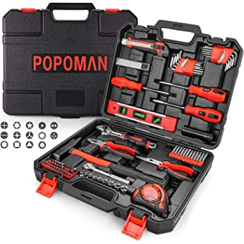 Tool Set, POPOMAN 102PCS Hand Tool Kit Combination Package Mixed with Socket, Hammer, Wrenches, Screwdriver Set, Pliers, Toolbox Storage Case for Home, Garage and Workshop