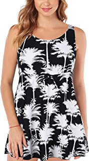 Septangle Women's Plus Size One Piece Floral Print Swimdress Tummy Control Swimsuit