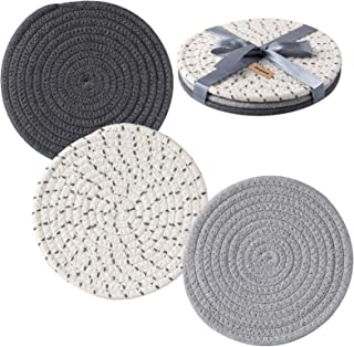 COSYLAND Potholders Trivets Set 100% Pure Cotton Thread Weave (Set of 3) Stylish Coasters, Hot Pads, Hot Mats,Spoon Rest f...