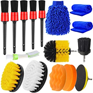 Jaronx 16PCS Car Detailing Brush Set Car Drill Brush Set, Car Cleaning Kit for Wheels,Dashboard, Engine, Leather, Carpet (Detail Brushes, Drill Brushes, Wash Mitt, Vent Brush, Towels, Polishing Pads)