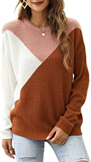 Sponsored Ad - Manydress Womens Crew Neck Long Sleeve Tops Loose Knit Color Block Pullover Sweater MY098