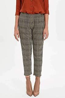 DeFacto Elastik Belli Ekose Desenli Pantolon Sarı XL
