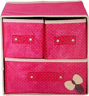 Pindia Foldable Pink 3 Drawer Storage Box Organizer
