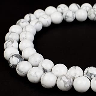 RVG 6mm Natural White Howlite Beads Marble Round Gemstone Loose Stone Mala 15.5 in Strand for Jewelry Making (Approx 63-65 pcs)