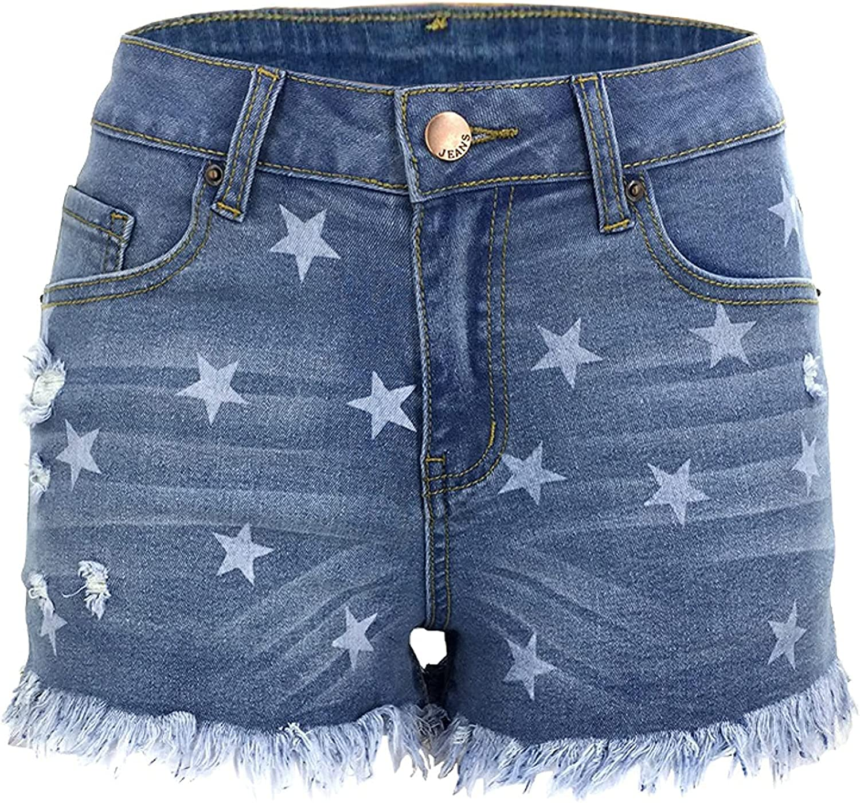 CHENX1NN Ladies Casual Fashion Printed Denim Shorts Summer Mid Waisted Retro Trendy Raw