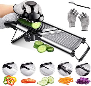 Mandoline Food Slicer Adjustable Thickness for Cheese Fruits Vegetables Stainless Steel Food Cutter Slicer Dicer with Extr...