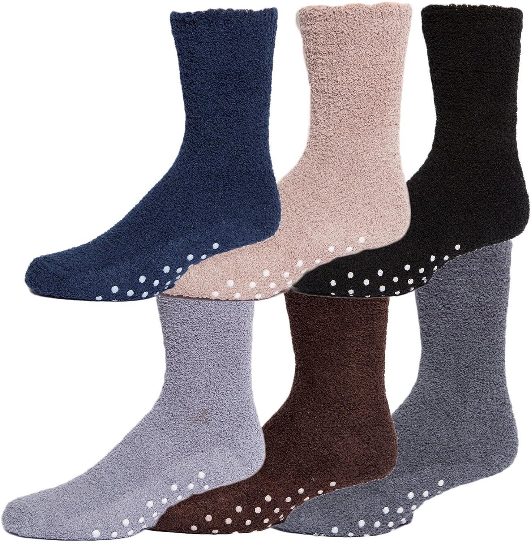 Gilbin Mens Winter Cozy Thick Warm Fuzzy Anti-Slip Grip Hospital Floor Socks 6-Pack