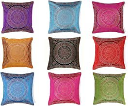 Indian Handmade Decorative Silk Brocade Traditional Home & Living Room Decor Vintage Pillowcases Embroidery Work Silk Boho...