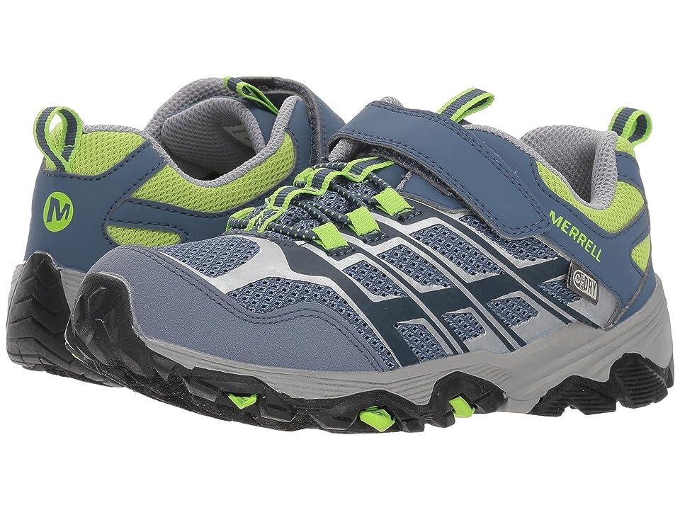Merrell Kids Moab FST Low A/C Waterproof (Little Kid) (Grey/Green) Boys Shoes