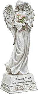 Roman Exclusive Standing Angel with Roses and Amazing Grace Verse, 14-Inch, Made of Resin Stone